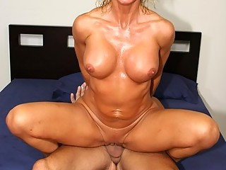 Big tit blonde wife gets bent over the bed for a strange dick fucking